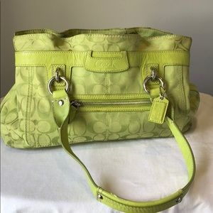 lime green coach purse